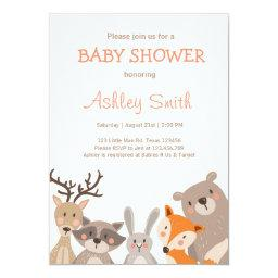 Woodland Baby Shower invite Animals Forest