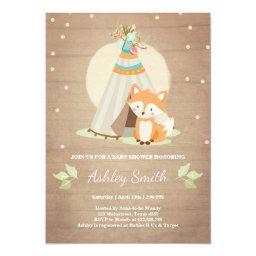 Woodland baby shower invite Fox Teepee Pink Girl
