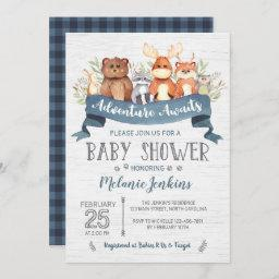 Woodland Bear Boy Baby Shower Invitation
