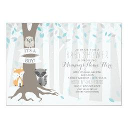 Woodland Creatures Winter Baby Shower - Boy Invitation