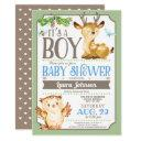 Woodland Deer And Owl Boy Baby Shower Invitations