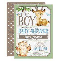 Owl baby shower invitations babyshowerinvitations4u woodland deer and owl boy baby shower filmwisefo