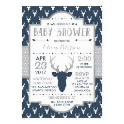 Woodland Deer Baby Shower Invitations, Faux Foil Invitations