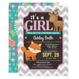 Woodland Deer & Fox Baby Shower  Girl