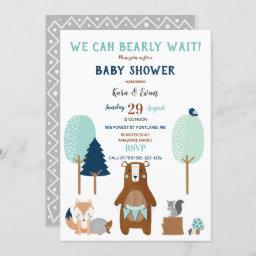 Woodland Forest Animals Bear Rustic Blue Brown Invitation