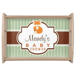 Woodland Fox; Orange, Sage, Brown Baby Shower Serving Tray