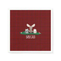 Woodland Lumberjack Baby Shower Animals Rustic Napkin