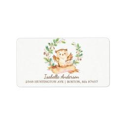 Woodland Owl Baby Shower Address Label