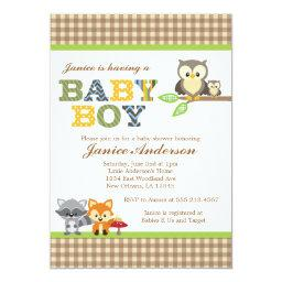 Owl baby shower invitations babyshowerinvitations4u woodland owl baby shower boy filmwisefo Image collections