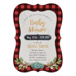 Woodland Plaid Baby Shower Invitation