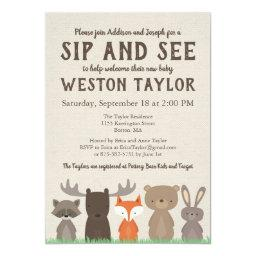 Woodland Themed Sip And See Invitationss