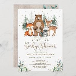 Woodland Virtual Baby Shower Forest Zoom Party Invitation