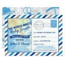 World Awaits Baby Shower Invitation Blue Postinvitations