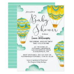 Yellow And Aqua Hot Air Balloons Baby Shower