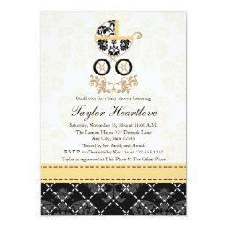 Yellow And Black Damask Baby Carriage Baby Shower Invitation