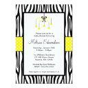 Yellow And Black Zebra Heart Mobile Baby Shower Invitations