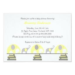 Yellow and Gray elephants on books baby shower
