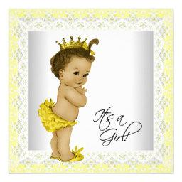 Yellow And Gray Vintage Baby Girl Shower