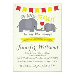 Yellow and Red Peanut Elephant Baby shower Invite