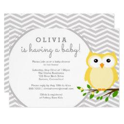 Yellow Owl Baby Shower, Grey Chevron Invitation