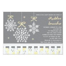 Yellow Snowflake Mobile Crib Baby Shower Invite