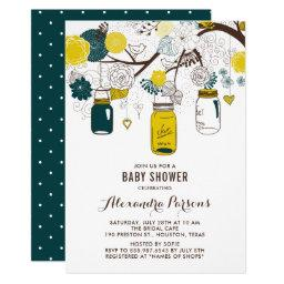 Yellow & Teal Mason Jars | Floral Baby Shower