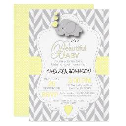 Yellow, White Gray Elephant Baby Shower