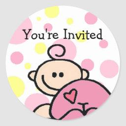 You're Invited Tickled Pink Girl Classic Round Sticker