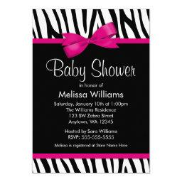 Zebra Hot Pink Printed Bow Baby Shower Invitations