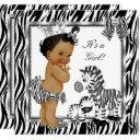 Zebra Princess Girl Baby Shower Ethnic Invitation