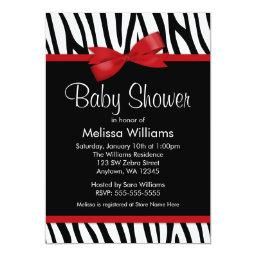 Zebra Red Printed Bow Baby Shower