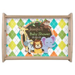 Zoo Animals on Colorful Argyle Serving Tray